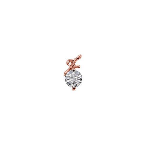 ペンダントトップ 18金 ピンクゴールド 天然石 F イニシャルモチーフの一粒ペンダント 主石の直径約4.4mm ペンダントヘッドのみ|K18PG 18k 貴金属 ジュエリー レディース メンズ