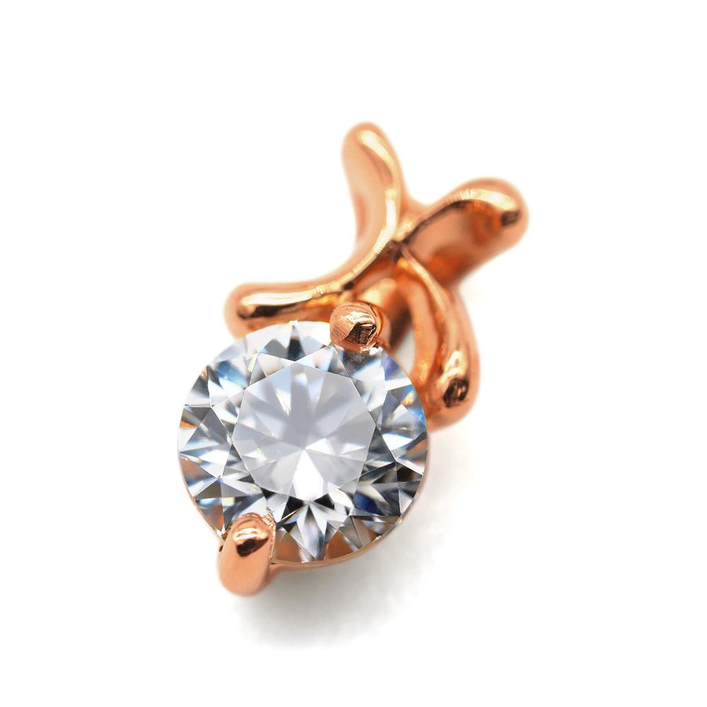 ペンダントトップ 18金 ピンクゴールド 天然石 K イニシャルモチーフの一粒ペンダント 主石の直径約4.4mm ペンダントヘッドのみ|K18PG 18k 貴金属 ジュエリー レディース メンズ