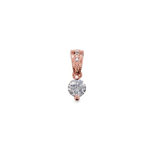 ペンダントトップ 18金 ピンクゴールド 天然石 メレ付きバチカンの一粒ペンダント 主石の直径約3.8mm ミル打ちバチカン 二本爪留め ペンダントヘッドのみ|K18PG 18k 貴金属 ジュエリー レディース メンズ