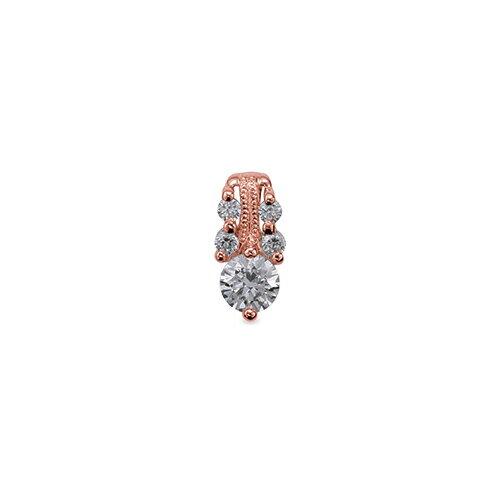 ペンダントトップ 18金 ピンクゴールド 天然石 メレ付きバチカンの一粒ペンダント 主石の直径約4.4mm ミル打ちバチカン 二本爪留め ペンダントヘッドのみ|K18PG 18k 貴金属 ジュエリー レディース メンズ