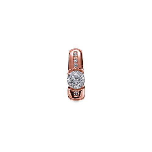 ペンダントトップ 18金 ピンクゴールド 天然石 メレがラインになった一粒ペンダント 主石の直径約4.4mm 四本爪留め ペンダントヘッドのみ|K18PG 18k 貴金属 ジュエリー レディース メンズ