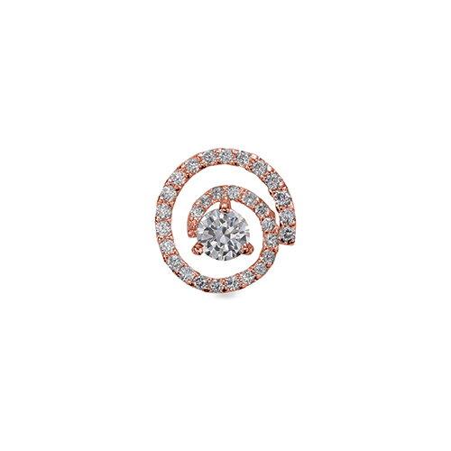 ペンダントトップ 18金 ピンクゴールド 天然石 スパイラルモチーフにメレが並んだ一粒ペンダント 主石の直径約4.4mm 三本爪留め ペンダントヘッドのみ K18PG 18k 貴金属 ジュエリー レディース メンズ