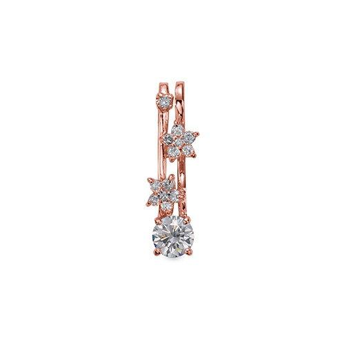 ペンダントトップ 18金 ピンクゴールド 天然石 花モチーフのメレ付きペンダント 主石の直径約5.2mm 四本爪留め ペンダントヘッドのみ|K18PG 18k 貴金属 ジュエリー レディース メンズ
