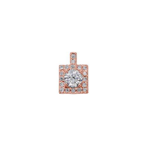 ペンダントトップ 18金 ピンクゴールド 天然石 スクウェア型の取り巻きペンダント 主石の直径約4.4mm ミル打ち 四本爪留め ペンダントヘッドのみ|K18PG 18k 貴金属 ジュエリー レディース メンズ