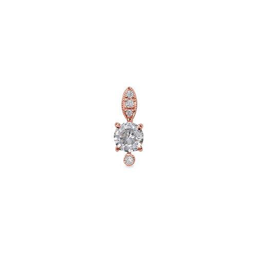 ペンダントトップ 18金 ピンクゴールド 天然石 メレ周りミル打ちペンダント 主石の直径約4.4mm 四本爪留め ペンダントヘッドのみ|K18PG 18k 貴金属 ジュエリー レディース メンズ