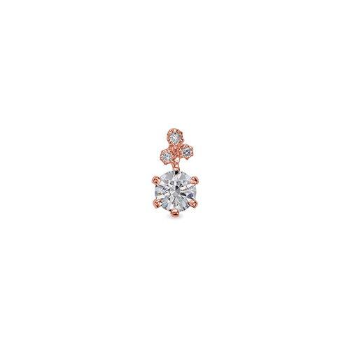 ペンダントトップ 18金 ピンクゴールド 天然石 小花モチーフのメレが付いた一粒ペンダント 主石の直径約3.8mm 六本爪留 ペンダントヘッドのみ|K18PG 18k 貴金属 ジュエリー レディース メンズ