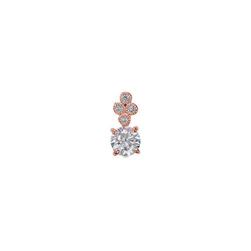 ペンダントトップ 18金 ピンクゴールド 天然石 メレ周りミル打ちの一粒ペンダント 主石の直径約4.4mm 四本爪留め ペンダントヘッドのみ|K18PG 18k 貴金属 ジュエリー レディース メンズ