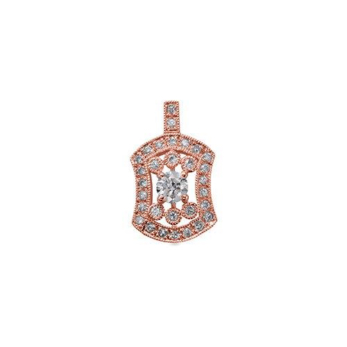 ペンダントトップ 18金 ピンクゴールド 天然石 ミル打ちと透かしの取り巻きペンダント 主石の直径約3.8mm 四本爪留め ペンダントヘッドのみ|K18PG 18k 貴金属 ジュエリー レディース メンズ