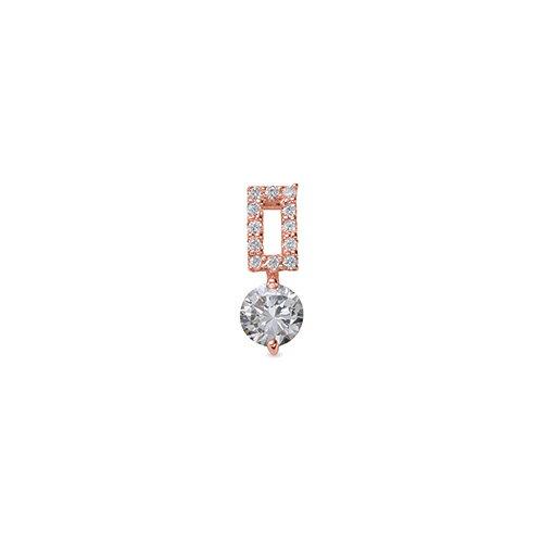 ペンダントトップ 18金 ピンクゴールド 天然石 メレ付きバチカンの一粒ペンダント 主石の直径約5.2mm 二本爪留め ペンダントヘッドのみ|K18PG 18k 貴金属 ジュエリー レディース メンズ