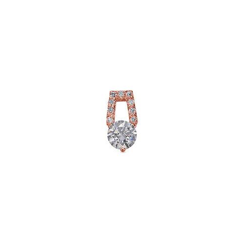 ペンダントトップ 18金 ピンクゴールド 天然石 メレ付きバチカンの一粒ペンダント 主石の直径約4.4mm 三本爪留め ペンダントヘッドのみ|K18PG 18k 貴金属 ジュエリー レディース メンズ