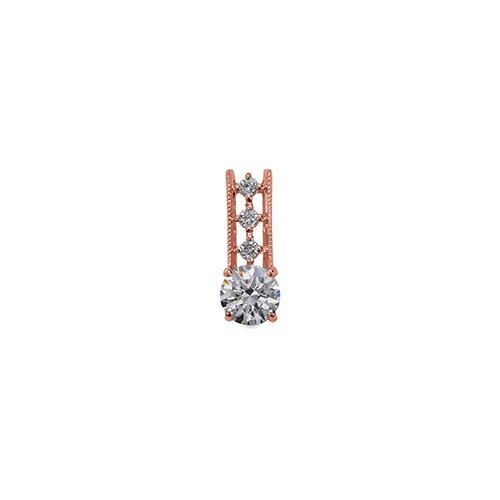 ペンダントトップ 18金 ピンクゴールド 天然石 メレ付きバチカンの一粒ペンダント 主石の直径約4.4mm ミル打ちバチカン 四本爪留め ペンダントヘッドのみ|K18PG 18k 貴金属 ジュエリー レディース メンズ
