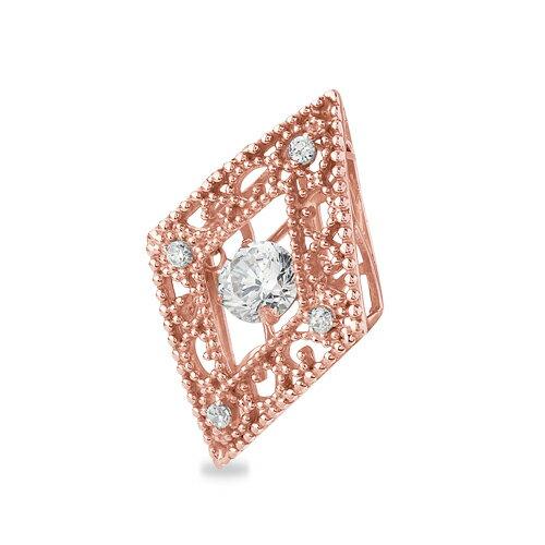 ペンダントトップ 18金 ピンクゴールド 天然石 主石が揺れるメレ付きのダイヤ型透かしデザインペンダント 主石の直径約5.2mm ダンシングストーン ペンダントヘッドのみ|K18PG 18k 貴金属 ジュエリー レディース メンズ