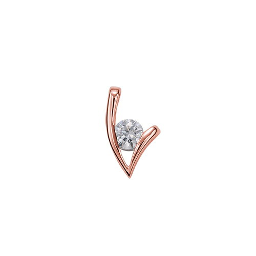 ペンダントトップ 18金 ピンクゴールド 天然石 V字モチーフの一粒ペンダント 主石の直径約4.4mm レール留め ペンダントヘッドのみ|K18PG 18k 貴金属 ジュエリー レディース メンズ