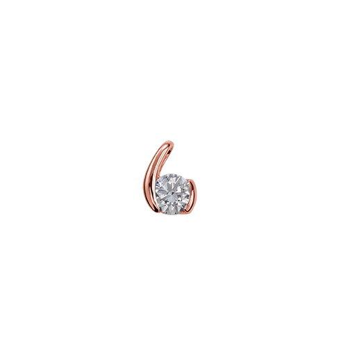 ペンダントトップ 18金 ピンクゴールド 天然石 ウェーブモチーフの一粒ペンダント 主石の直径約4.4mm レール留め ペンダントヘッドのみ|K18PG 18k 貴金属 ジュエリー レディース メンズ