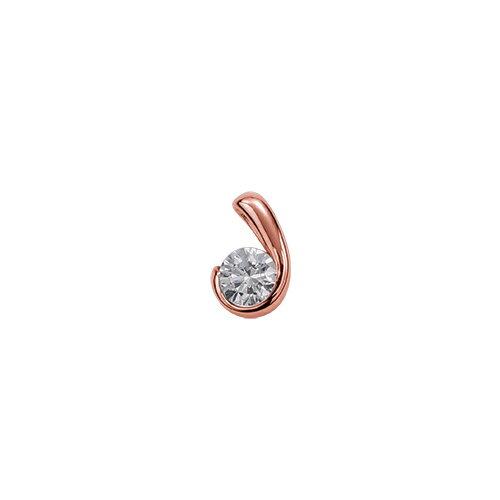 ペンダントトップ 18金 ピンクゴールド 天然石 ウェーブラインの一粒ペンダント 主石の直径約3.8mm レール留め ペンダントヘッドのみ|K18PG 18k 貴金属 ジュエリー レディース メンズ