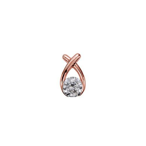 ペンダントトップ 18金 ピンクゴールド 天然石 クロスモチーフの一粒ペンダント 主石の直径約5.2mm レール留め ペンダントヘッドのみ K18PG 18k 貴金属 ジュエリー レディース メンズ