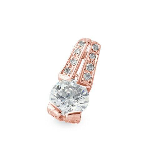 ペンダントトップ 18金 ピンクゴールド 天然石 メレ付きバチカンの一粒ペンダント 主石の直径約5.2mm レール留め ペンダントヘッドのみ|K18PG 18k 貴金属 ジュエリー レディース メンズ