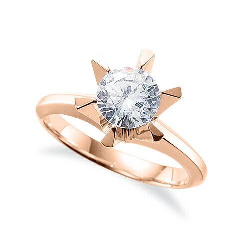 指輪 18金 ピンクゴールド 天然石 一粒リング 主石の直径約5.2mm ソリティア 三角爪 六本爪留め K18PG 18k 貴金属 ジュエリー レディース メンズ