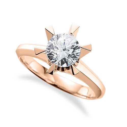 指輪 18金 ピンクゴールド 天然石 一粒リング 主石の直径約4.4mm ソリティア 三角爪 六本爪留め|K18PG 18k 貴金属 ジュエリー レディース メンズ