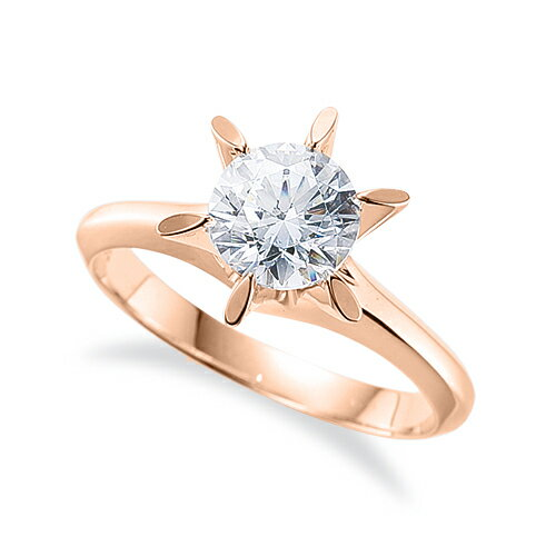 指輪 18金 ピンクゴールド 天然石 一粒リング 主石の直径約3.8mm ソリティア 鬼爪 六本爪留め|K18PG 18k 貴金属 ジュエリー レディース メンズ