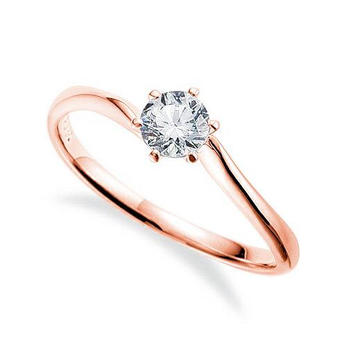 指輪 18金 ピンクゴールド 天然石 一粒リング 主石の直径約4.4mm ソリティア ウェーブ しぼり腕 六本爪留め|K18PG 18k 貴金属 ジュエリー レディース メンズ