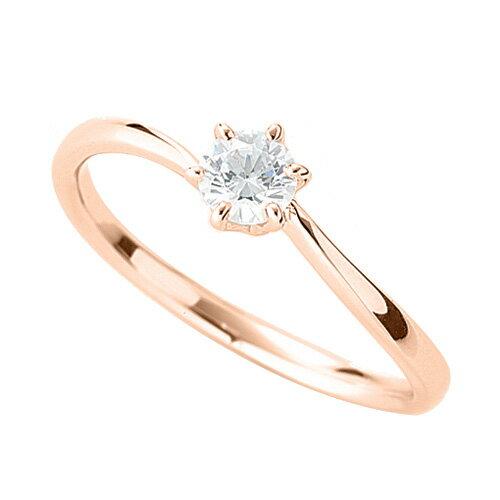 指輪 18金 ピンクゴールド 天然石 一粒リング 主石の直径約3.8mm ソリティア ウェーブ 六本爪留め|K18PG 18k 貴金属 ジュエリー レディース メンズ