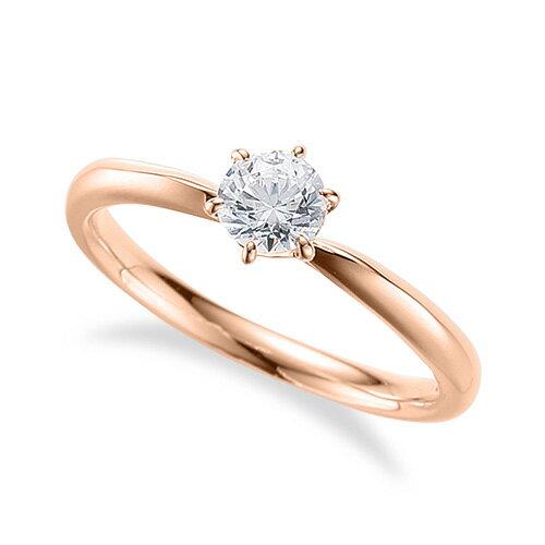 指輪 18金 ピンクゴールド 天然石 ハート型石座の一粒リング 主石の直径約4.4mm ソリティア しぼり腕 六本爪留め K18PG 18k 貴金属 ジュエリー レディース メンズ