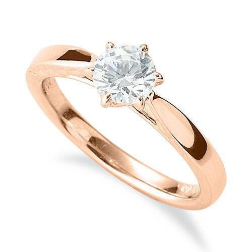 指輪 18金 ピンクゴールド 天然石 側面透かし一粒リング 主石の直径約5.2mm ソリティア 平打ち 六本爪留め|K18PG 18k 貴金属 ジュエリー レディース メンズ