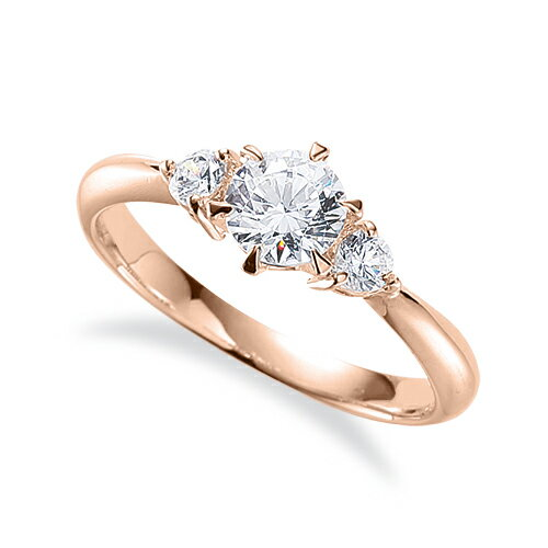 指輪 18金 ピンクゴールド 天然石 サイドストーンリング 主石の直径約4.4mm しぼり腕 六本爪留め|K18PG 18k 貴金属 ジュエリー レディース メンズ