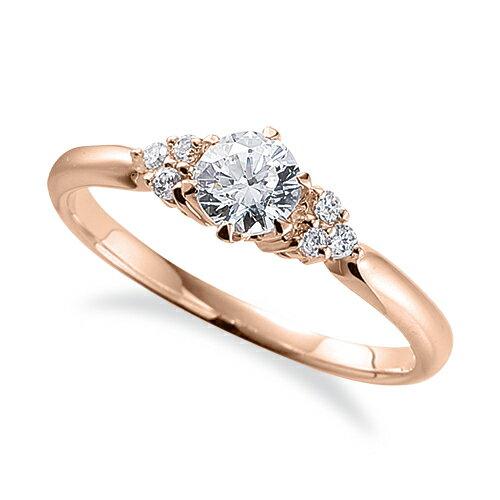 指輪 18金 ピンクゴールド 天然石 サイドストーンリング 主石の直径約4.4mm 六本爪留め|K18PG 18k 貴金属 ジュエリー レディース メンズ