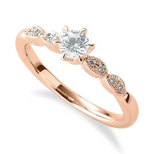 指輪 18金 ピンクゴールド 天然石 メレ周りミル打ちのサイドストーンリング 主石の直径約3.8mm 六本爪留め|K18PG 18k 貴金属 ジュエリー レディース メンズ