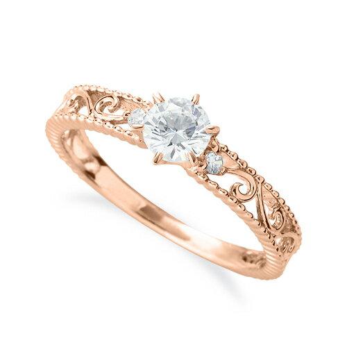 指輪 18金 ピンクゴールド 天然石 ミル打ちと透かしのサイドストーンリング 主石の直径約4.4mm 六本爪留め|K18PG 18k 貴金属 ジュエリー レディース メンズ