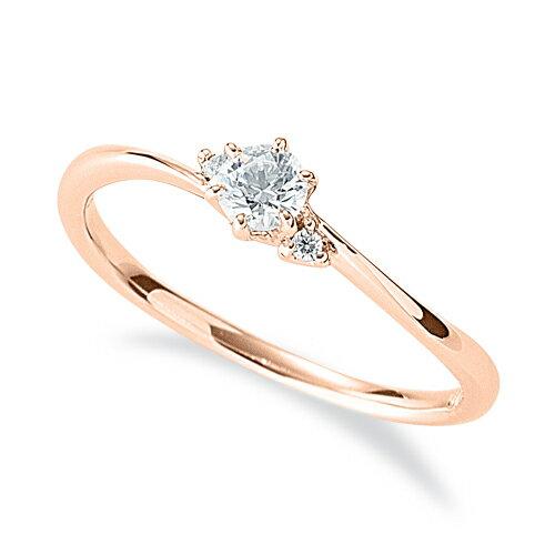 指輪 18金 ピンクゴールド 天然石 サイドストーンリング 主石の直径約3.4mm ウェーブ 六本爪留め K18PG 18k 貴金属 ジュエリー レディース メンズ
