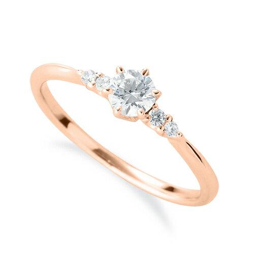 指輪 18金 ピンクゴールド 天然石 サイドストーンリング 主石の直径約3.8mm しぼり腕 六本爪留め|K18PG 18k 貴金属 ジュエリー レディース メンズ