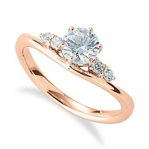 指輪 18金 ピンクゴールド 天然石 サイドストーンリング 主石の直径約5.2mm V字 六本爪留め|K18PG 18k 貴金属 ジュエリー レディース メンズ
