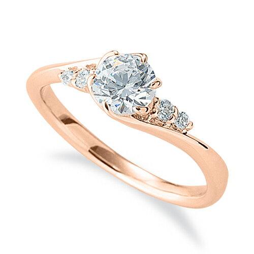 指輪 18金 ピンクゴールド 天然石 サイドストーンリング 主石の直径約5.2mm ウェーブ 六本爪留め|K18PG 18k 貴金属 ジュエリー レディース メンズ