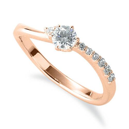 指輪 18金 ピンクゴールド 天然石 サイドストーンリング 主石の直径約3.8mm ウェーブ 六本爪留め|K18PG 18k 貴金属 ジュエリー レディース メンズ