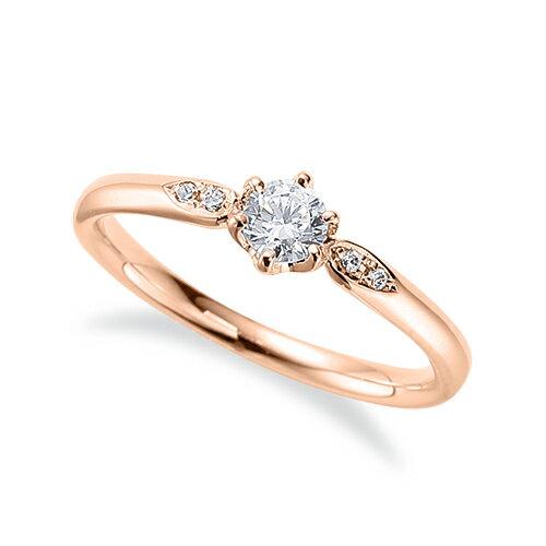 指輪 18金 ピンクゴールド 天然石 サイドストーンリング 主石の直径約3.8mm 六本爪留め|K18PG 18k 貴金属 ジュエリー レディース メンズ