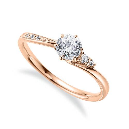 指輪 18金 ピンクゴールド 天然石 サイドストーンリング 主石の直径約4.4mm ウェーブ 六本爪留め|K18PG 18k 貴金属 ジュエリー レディース メンズ