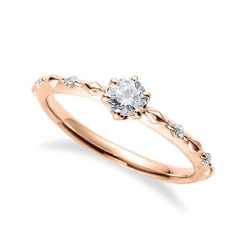 指輪 18金 ピンクゴールド 天然石 サイドストーンリング 主石の直径約3.8mm 六本爪留め K18PG 18k 貴金属 ジュエリー レディース メンズ