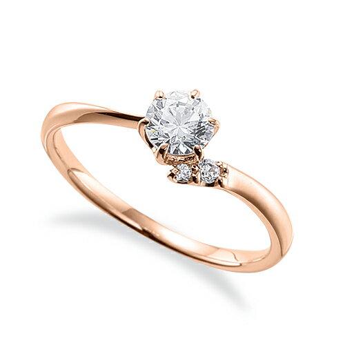 指輪 18金 ピンクゴールド 天然石 サイドストーンリング 主石の直径約4.4mm ウェーブ 六本爪留め K18PG 18k 貴金属 ジュエリー レディース メンズ