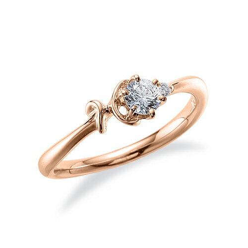 指輪 18金 ピンクゴールド 天然石 H イニシャルモチーフのサイドストーンリング 主石の直径約3.8mm ウェーブ 六本爪留め|K18PG 18k 貴金属 ジュエリー レディース メンズ