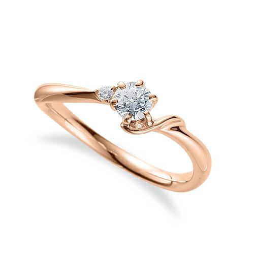 指輪 18金 ピンクゴールド 天然石 S イニシャルモチーフのサイドストーンリング 主石の直径約3.8mm ウェーブ 六本爪留め|K18PG 18k 貴金属 ジュエリー レディース メンズ