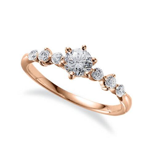 指輪 18金 ピンクゴールド 天然石 サイドストーンリング 主石の直径約4.4mm 六本爪留め K18PG 18k 貴金属 ジュエリー レディース メンズ