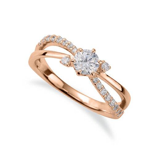 指輪 18金 ピンクゴールド 天然石 サイドストーンリング 主石の直径約3.8mm ウェーブ 割り腕 六本爪留め K18PG 18k 貴金属 ジュエリー レディース メンズ