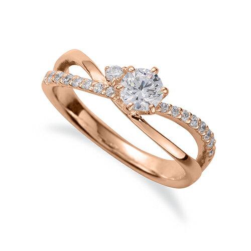 指輪 18金 ピンクゴールド 天然石 サイドストーンリング 主石の直径約4.4mm ウェーブ 割り腕 六本爪留め|K18PG 18k 貴金属 ジュエリー レディース メンズ