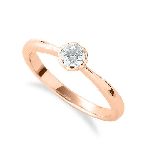 指輪 18金 ピンクゴールド 天然石 花モチーフの一粒リング 主石の直径約3.8mm ソリティア しぼり腕 レール留め|K18PG 18k 貴金属 ジュエリー レディース メンズ