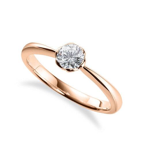 指輪 18金 ピンクゴールド 天然石 花モチーフの一粒リング 主石の直径約4.4mm ソリティア しぼり腕 レール留め K18PG 18k 貴金属 ジュエリー レディース メンズ