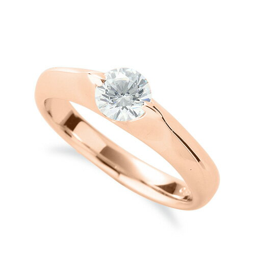 指輪 18金 ピンクゴールド 天然石 一粒リング 主石の直径約3.8mm ソリティア 二本爪留め|K18PG 18k 貴金属 ジュエリー レディース メンズ