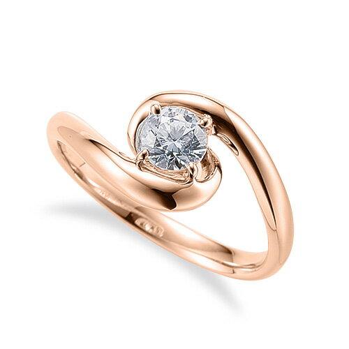 指輪 18金 ピンクゴールド 天然石 一粒リング 主石の直径約5.2mm ソリティア 抱き合わせ腕 四本爪留め K18PG 18k 貴金属 ジュエリー レディース メンズ
